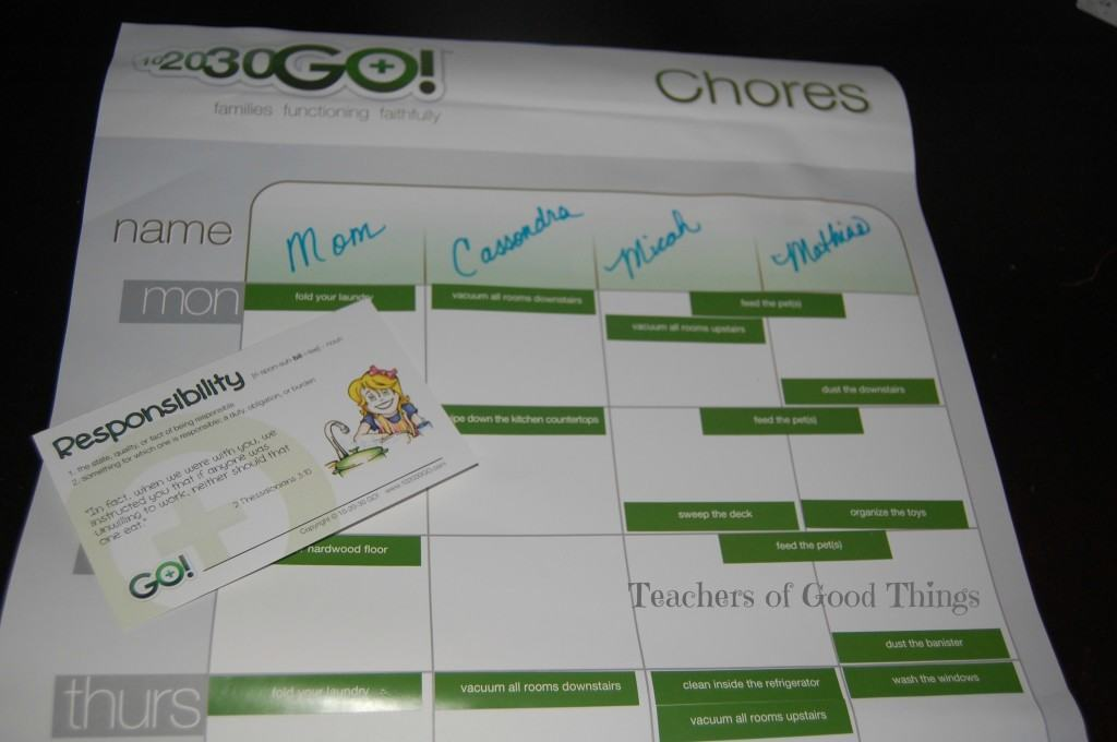 102030Go! Chore Chart and Responsibility Card