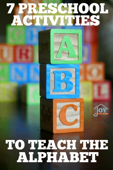 7 Preschool Activities to Teach the Alphabet - Hands-on learning to teach the alphabet. | www.joyinthehome.com