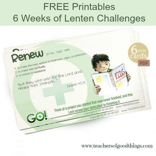 Free Printables 6 weeks of Lenten Challenges