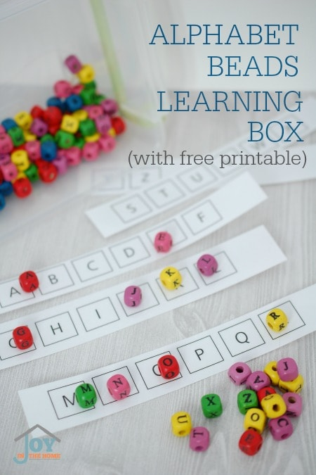 Alphabet Beads Learning Box - with a free printable. Hands-on learning of the alphabet that kids really like. | www.joyinthehome.com
