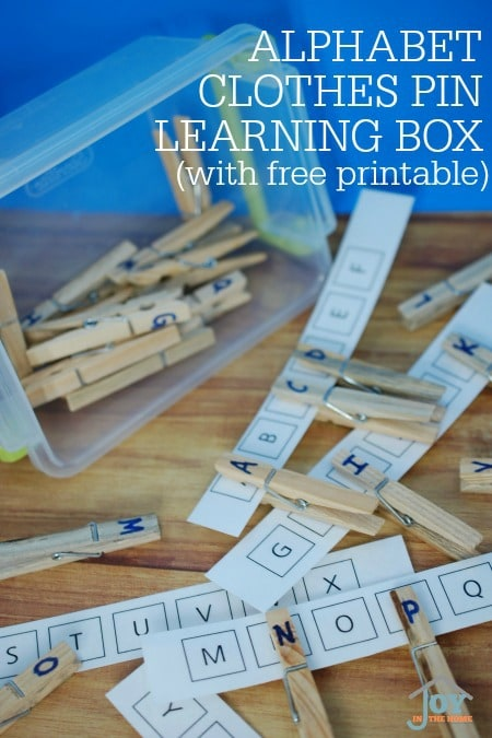 Alphabet Clothes Pins Learning Box (with free printables)