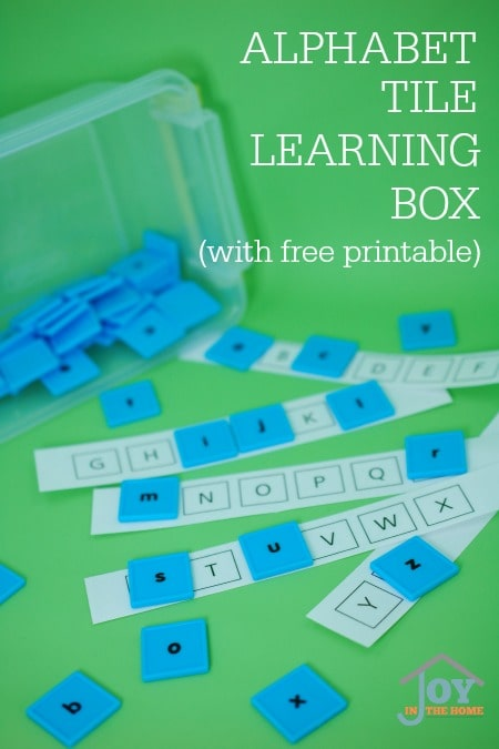 Alphabet Tile Learning Box - Hands-on learning with a fun learning box. | www.joyinthehome.com