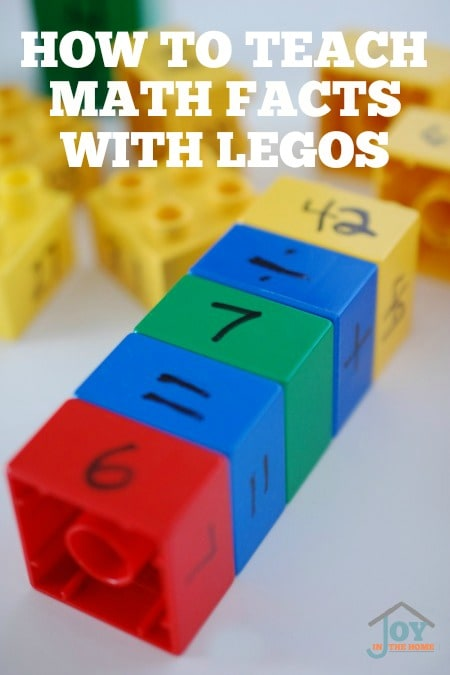 How To Teach Math Facts With Legos - Step by Step instructions on how to create a learning box for hands-on learning of all the math facts. | www.joyinthehome.com