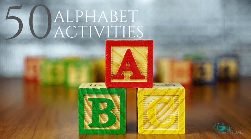 50 Alphabet Activities for your preschool and kindergarten hands-on activities. | www.joyinthehome.com