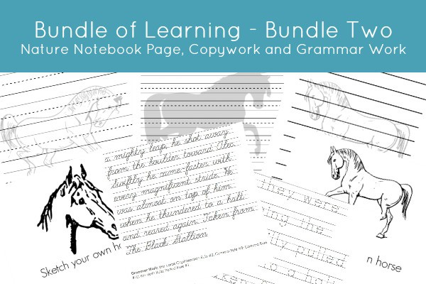 Bundle of Learning - Bundle Two Nature Notebook Pages, Copywork and Grammar Work www.joyinthehome.com