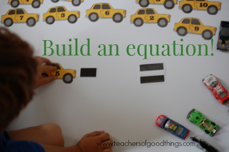 How to Teach Subtraction with Cars - build equation www.joyinthehome.com.jpg