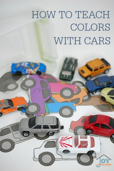 How to Teach Colors with Cars - Have fun while teaching your child colors, and matching. | www.joyinthehome.com