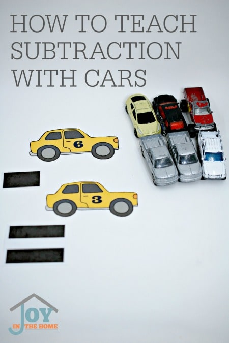 How to Teach Subtraction with Cars - This hands-on math activity is a perfect one for turning playtime into learning time. | www.joyinthehome.com