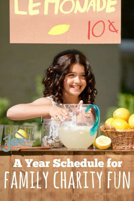 A Year Schedule for Family Charity Fun - Raise children that think about their community and helping those that are less fortunate with these easy ways to make a big difference. | www.joyinthehome.com