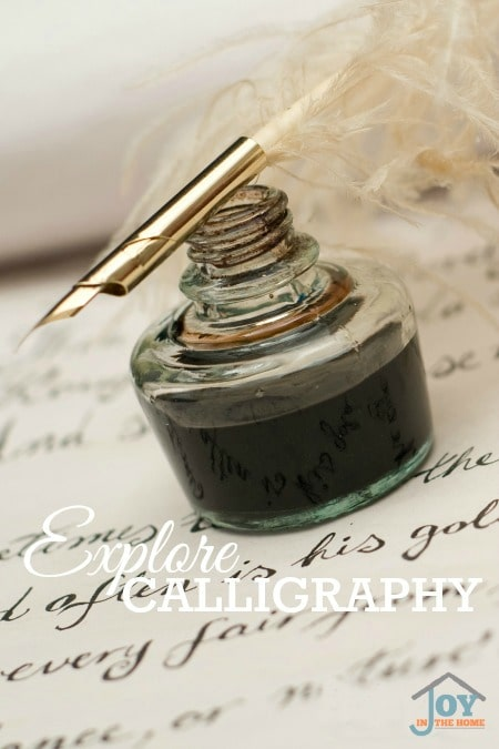 Explore Calligraphy - Part of the 31 Days of Exploring Free Afternoon Activities | www.joyinthehome.com