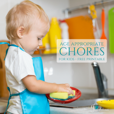 Age appropriate chores for kids of all ages with a free printable | www.joyinthehome.com