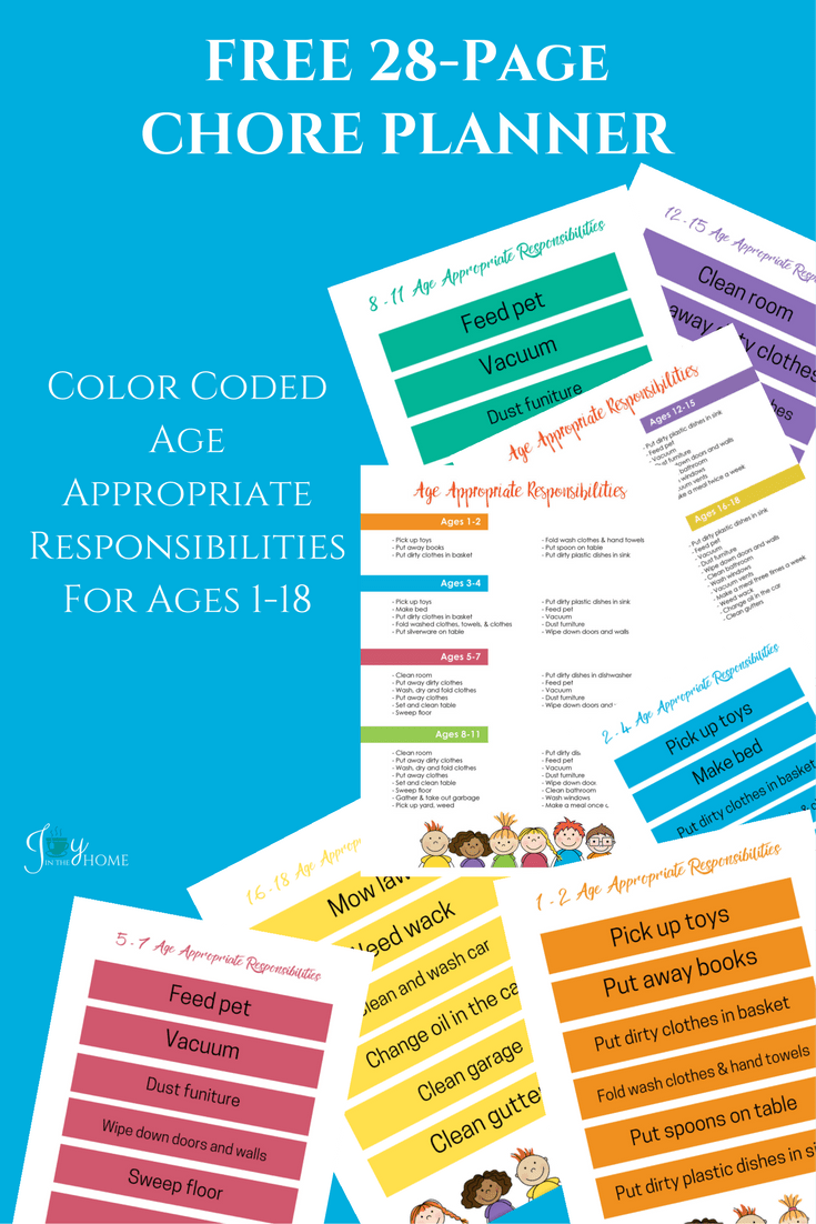 The Chore Planner includes 28-pages. Make chores fun and easy to implement with this complete planner that color code the responsibilities in the house by ages and ability. It even includes blank chore tabs that you can add your own chores for each age group.