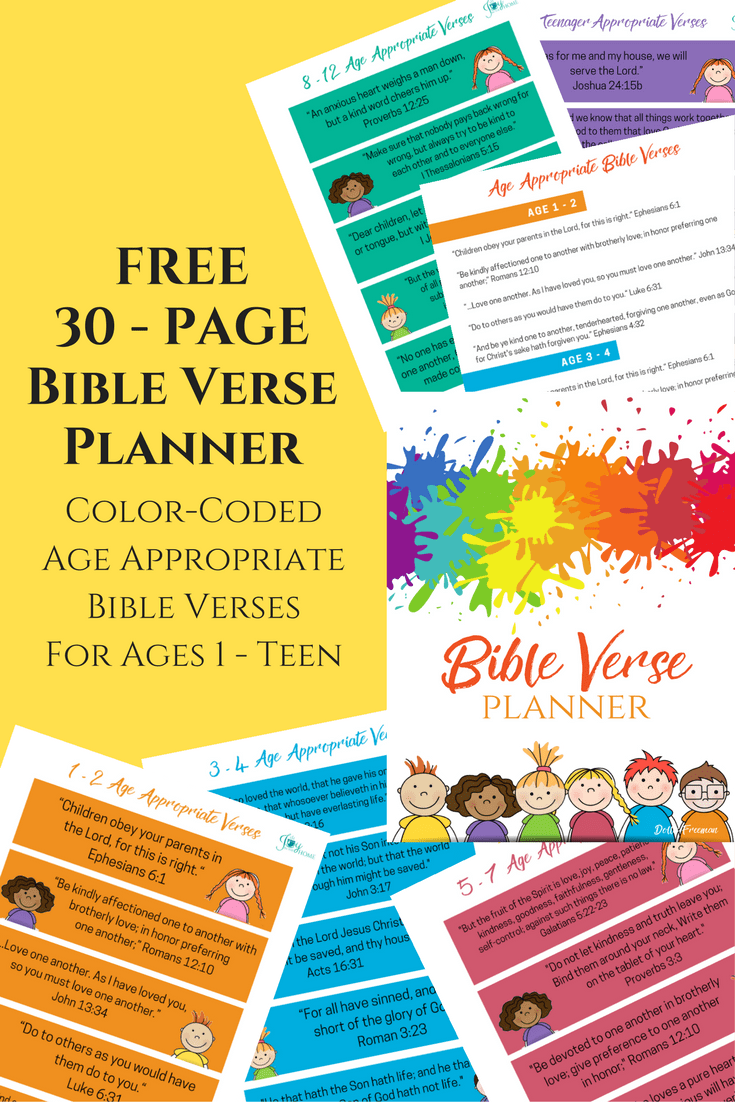 Get this FREE Bible Verse Planner with 30-pages of color-coded, age-appropriate verses for ages one to teen and start memorizing Bible verses as a family.